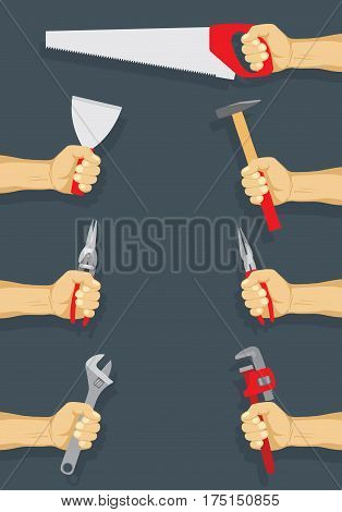 Tools in workers hand set - do it yourself project