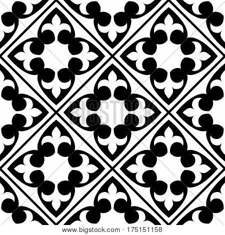 Spanish and Portuguese tile pattern, Moroccan tiles design, seamless black and white - Azulejo
