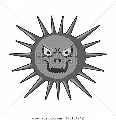 Gray virus icon in monochrome design isolated on white background. Viruses and bacteries symbol stock vector illustration.