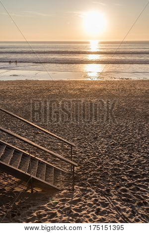 Late afternoon on the beach of Les Sables d'Olonne, France