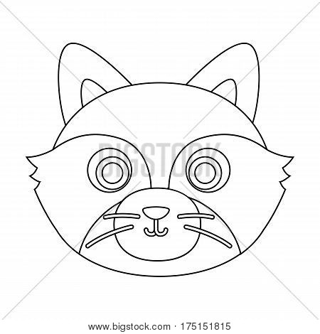 Raccoon muzzle icon in outline design isolated on white background. Animal muzzle symbol stock vector illustration.
