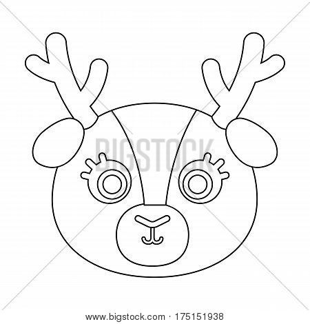 Deer muzzle icon in outline design isolated on white background. Animal muzzle symbol stock vector illustration.
