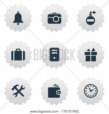 Vector Illustration Set Of Simple  Icons. Elements Present, Repair, Ring And Other Synonyms Photographing, Wallet And Processor.
