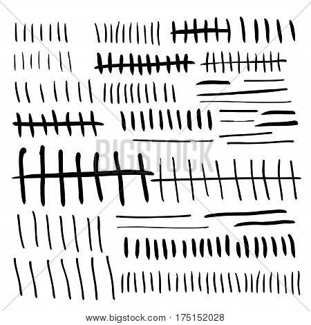 Primitive tally marks hand drawn. Stock vector illustration for day count numeral system isolated on white background.