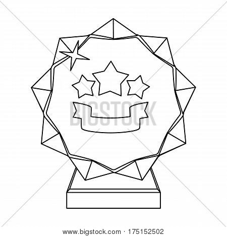 Crystal trophy in the shape of a star.Award for the best song in the talent contest .Awards and trophies single icon in outline style vector symbol stock web illustration.