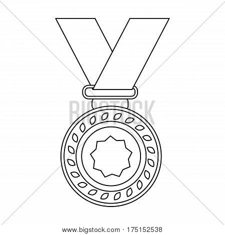 Silver medal on a red ribbon.The award for second place in the competition .Awards and trophies single icon in outline style vector symbol stock web illustration.