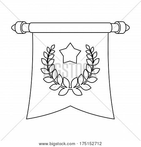 A red flag on a gold pole with the emblem of the first Olympics.Awards and trophies single icon in outline style vector symbol stock web illustration.