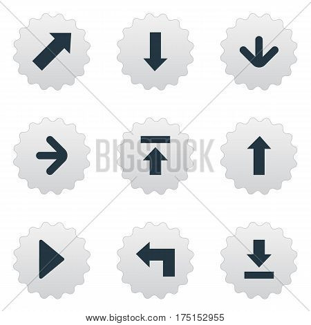 Vector Illustration Set Of Simple Indicator Icons. Elements Downwards Pointing, Let Down, Right Direction And Other Synonyms Upper, Pointing And Upload.
