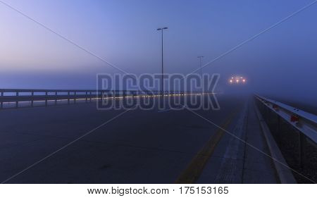 Speedway from Baku to the airport in a misty morning.Azerbaijan