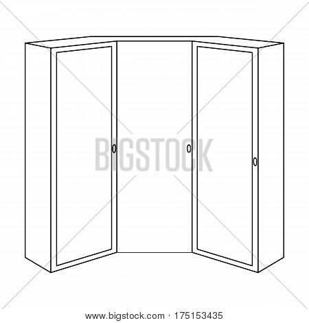 Pink wardrobe with two doors and a mirror.Bedroom wardrobe.Bedroom furniture single icon in outline style vector symbol stock web illustration.