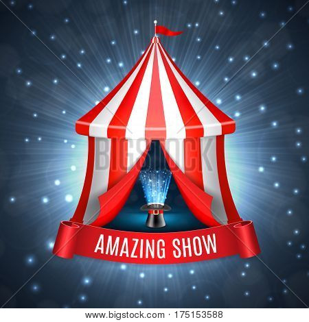 Conjurer hat with magical glow inside circus tent. Circus concept. EPS10 vector