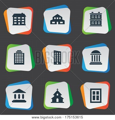 Vector Illustration Set Of Simple Construction Icons. Elements Popish, Offices, Floor And Other Synonyms Residential, Offices And Academy.