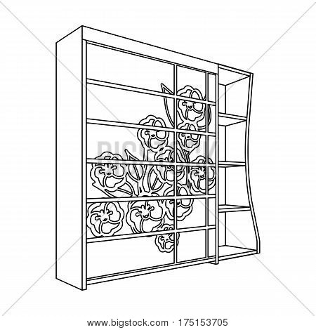 Black bedroom wardrobe with cells.Wardrobe with a beautiful rose on the door.Bedroom furniture single icon in outline style vector symbol stock web illustration.