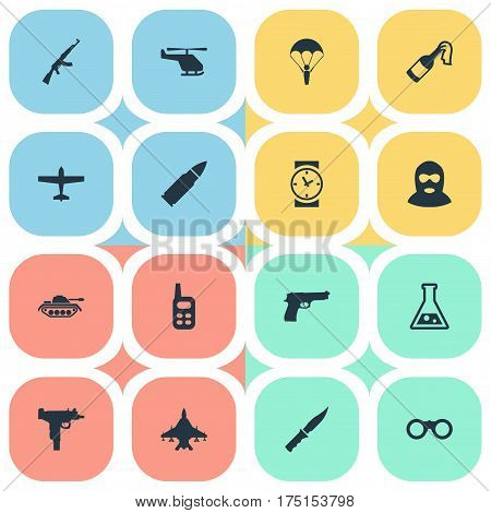 Vector Illustration Set Of Simple Military Icons. Elements Walkies, Paratrooper, Helicopter And Other Synonyms Knife, Plane And Chopper.