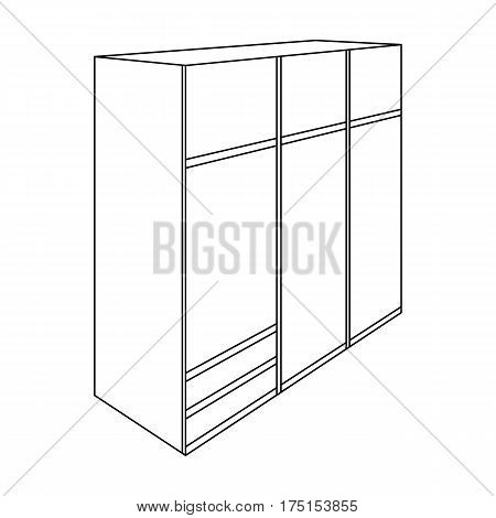A large bedroom wardrobe with mirrow and lots of drawers and cells.Bedroom furniture single icon in outline style vector symbol stock web illustration.
