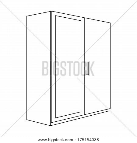 A small wardrobe with a clean mirror.Bedroom furniture single icon in outline style vector symbol stock web illustration.