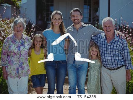 Digital composition of home outline with multi generation family standing in background