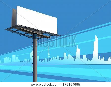 Outdoor Unipole Banner Billboard On A Blue City Silhouette Skyline Illustration
