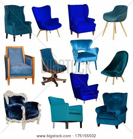 Set collage of different blue chairisolated on white background. View from different sides - front and two side views of leather and textile chair