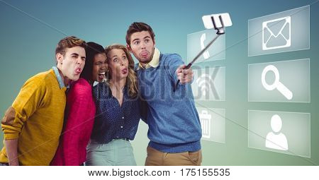 Digital composite of business executives taking selfie on mobile phone