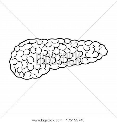 A sick pancreas.The infected part of the body with diabetes.Diabetes single icon in outline style vector symbol stock web illustration.