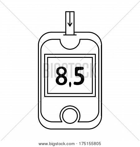 A device for measuring the level of blood sugar.Equipping the patient with diabetes.Diabetes single icon in outline style vector symbol stock web illustration.