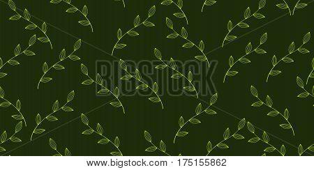 Green leaves seamless tileable background. Vector illustration.