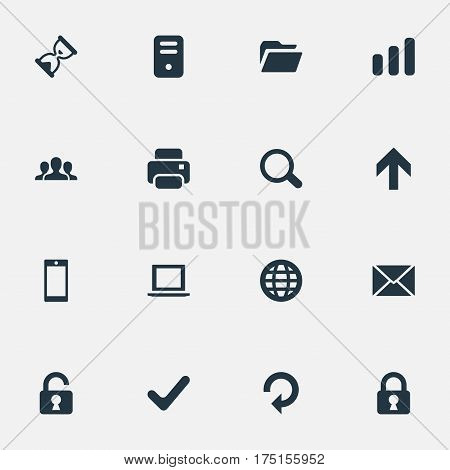 Vector Illustration Set Of Simple Practice Icons. Elements Magnifier, Notebook, Message And Other Synonyms Printout, Touchscreen And Folder.