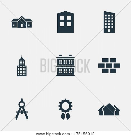 Vector Illustration Set Of Simple Architecture Icons. Elements Block, Floor, Structure And Other Synonyms Construction, Residence And Estates.