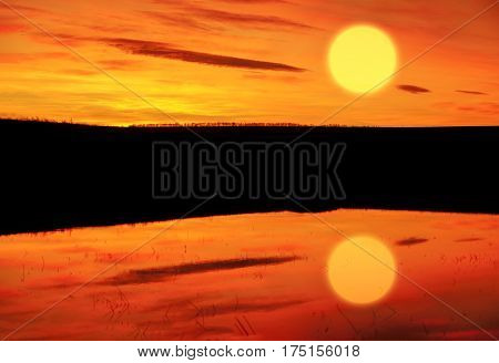 landscape of beautiful evening with big sun on the red sky