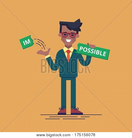 African american businessman breaks off a piece of the plate with the word impossible and gets the word possible. Modern vector illustration. Flat style.