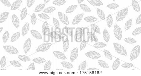 Leaves seamless white and grey background. Vector illustration.
