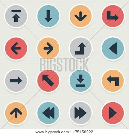 Vector Illustration Set Of Simple Cursor Icons. Elements Pointer, Right Landmark, Left Direction Synonyms Direction, Left And Backward.