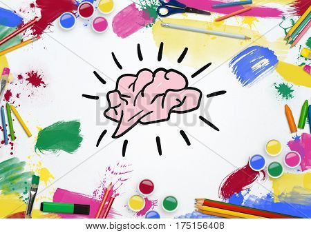 Digitally generated of colorful tools surrounded by drawn brain