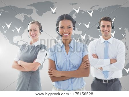 Digital composition of customer service executive in headset standing with arms crossed against world map