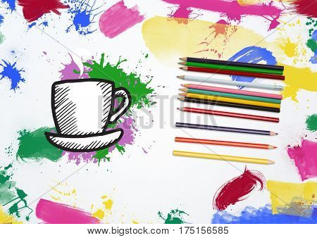 Hand drawn coffee cup and saucer with color pencil and multi colored paint stroke on white background