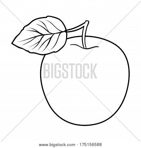 Green Apple with leaf.Proper diet for diabetes.Diabetes single icon in outline style vector symbol stock web illustration.