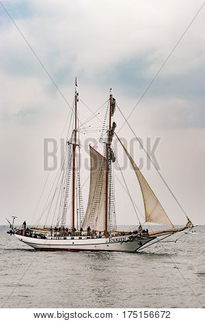 Rostock, Germany - August 2016: Sailing ship Tolkien on the sea. Tall Ship.Yachting and Sailing travel. Cruises and holidays