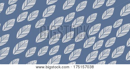 Leaves seamless white and blue background. Vector illustration.