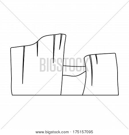 Rectangular high mountains of Sandstone.Desert mountains.Different mountains single icon in outline style vector symbol stock web illustration.