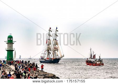 Rostock, Germany - August 2016: Sailing ships on the sea. Tall Ship.Yachting and Sailing travel. Cruises and holidays. Hanse-Sail Warnemuende at port Rostock, Mecklenburg-Vorpommern, Germany