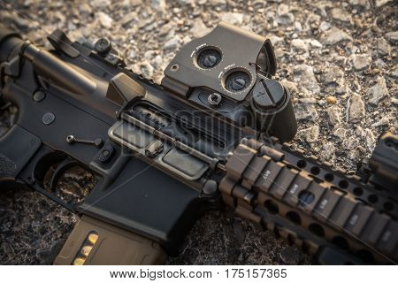 AR15 closeup chamber and red dot sight