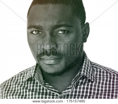 African man staring wearing shirt with portrait shoot