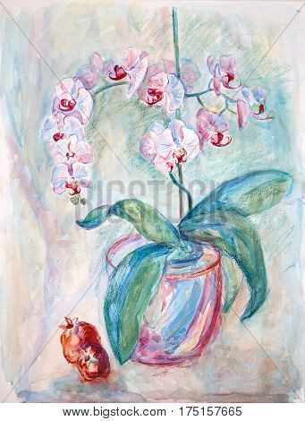 Still Life Orchids And Pomegranates