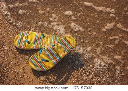 Flip flops on wet sand. Footwear on seashore. Feel the warmth of sea. Vacation at the tropical island.