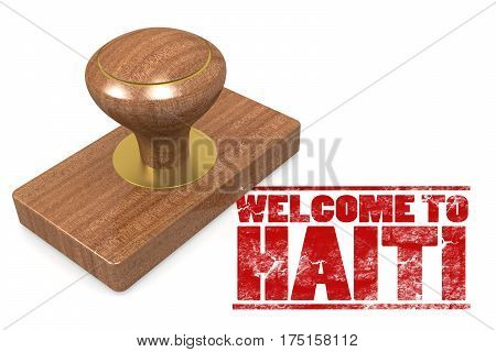Red Rubber Stamp With Welcome To Haiti