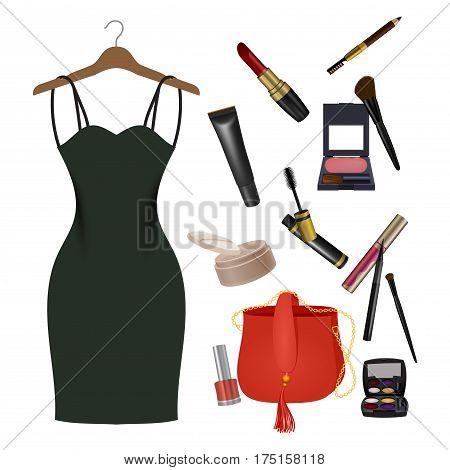 Set of female things. Girl accessories collection of dress on hanger, cosmetics, bag. Make-up things. Modern concept design. Vector illustration on white background.