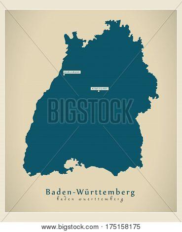 Modern Map - Baden-wuerttemberg De New Design Refreshed Illustration