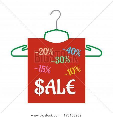 Sale banner hanging on the hanger. Good shopping label. Vector Illustration fashion discount sale information.