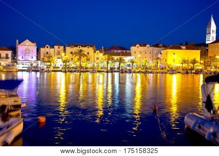 Supetar Waterfront Evening View From Sea